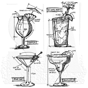 Stampers Anonymous - Tim Holtz - Stamp Set - COCKTAILS BLUEPRINT