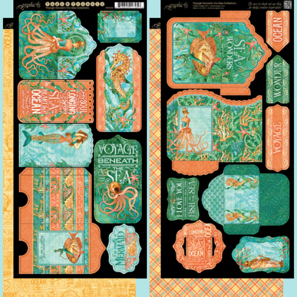 Graphic 45 - Voyage Beneath the Sea Collection - Tags and Pockets