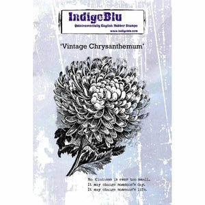 IndigoBlu - Vintage Chrysanthemum A6 Red Rubber Stamp