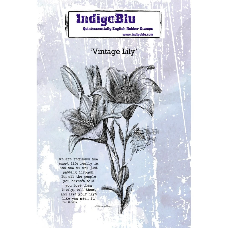 IndigoBlu - Vintage Lily A6 Red Rubber Stamp