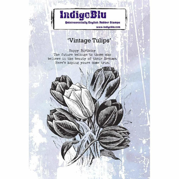 IndigoBlu - Vintage Tulips  A6 Red Rubber Stamp