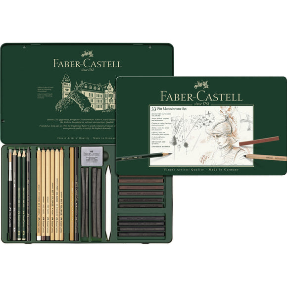 Faber-Castell - Pitt Monochrome Set - Tin of 33
