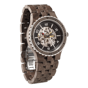 Premium Self-Winding Skeleton Walnut Watch