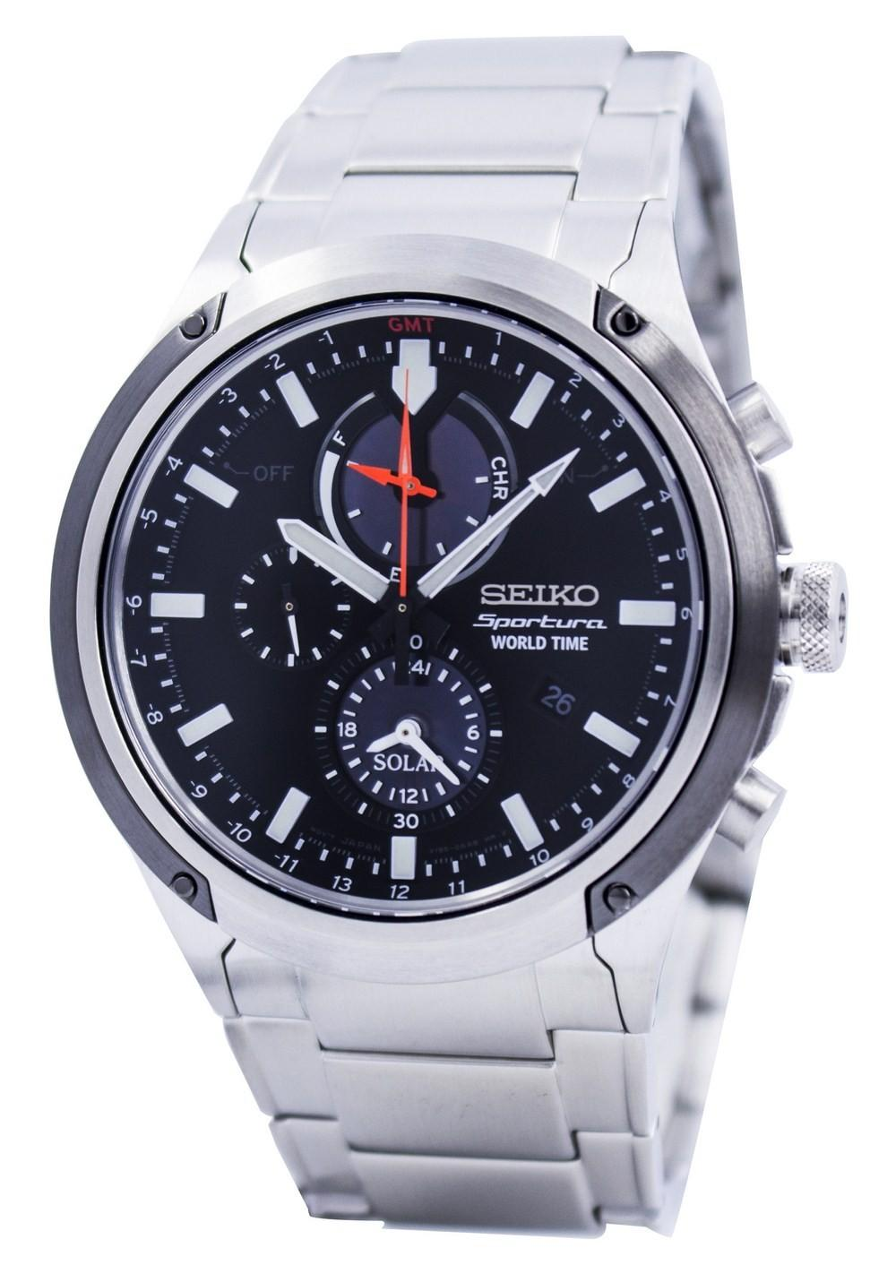 Seiko Sportura Solar World Time Chronograph Ssc479 Ssc479p1 Ssc479p Men's Watch