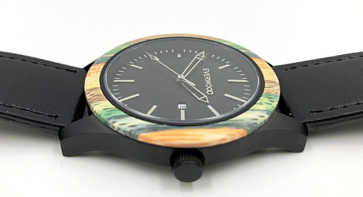 Multi-Color Bamboo Watch - Leather Band