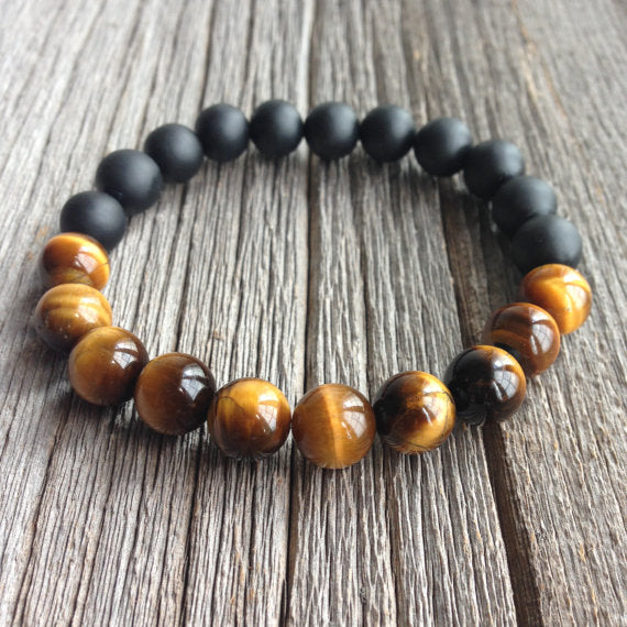 Tiger Eye & Matte Black Onyx Bracelet