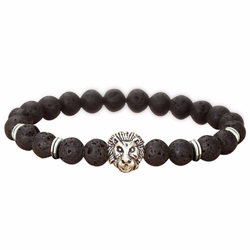 Lava Stone Cool Lion Head Charm Bracelet