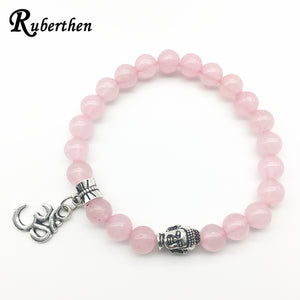 Ruberthen Natural Rose Qaurz Ohm Charm Bracelet