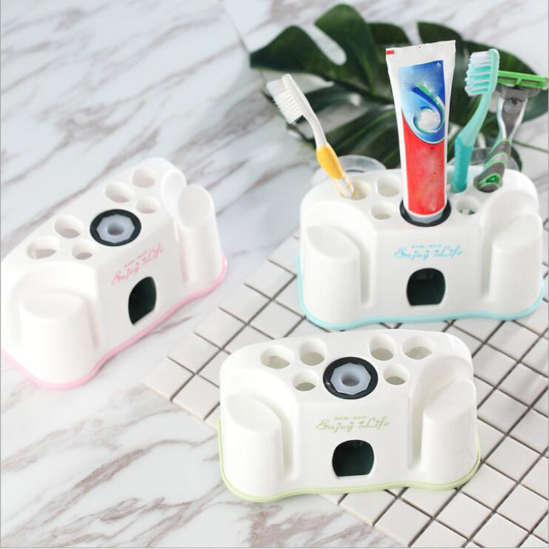 1Pc New Creative Automatic Squeezer Toothpaste Dispenser Bathroom Two Wash Cup Holder Toothbrush Holder Dropshipping