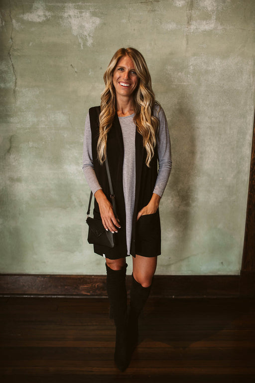 Black Cotton Duster Vest