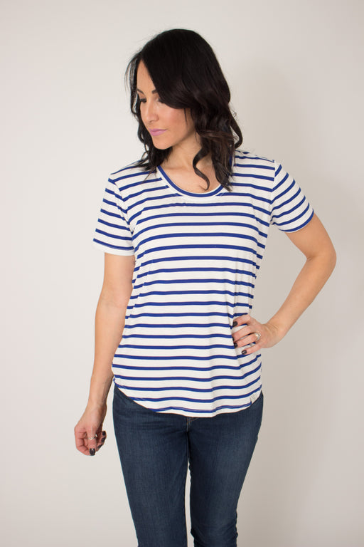NAVAL STRIPE SCOOP TEE