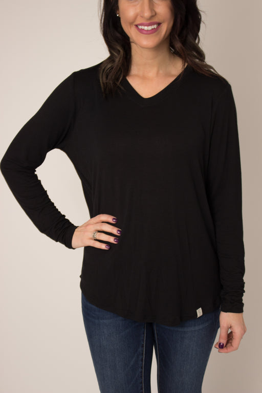 Black Long Sleeve V-Neck