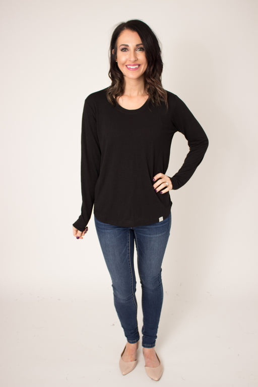 Black Long Sleeve Scoop Tee