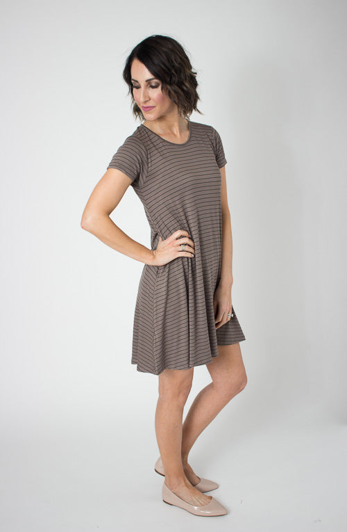 Mocha Stripe Pocket Swing Dress