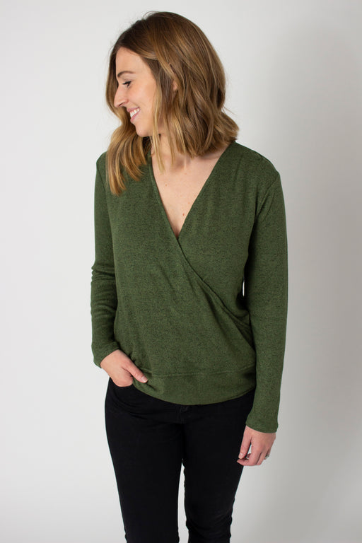 Evergreen Faux Wrap Pullover