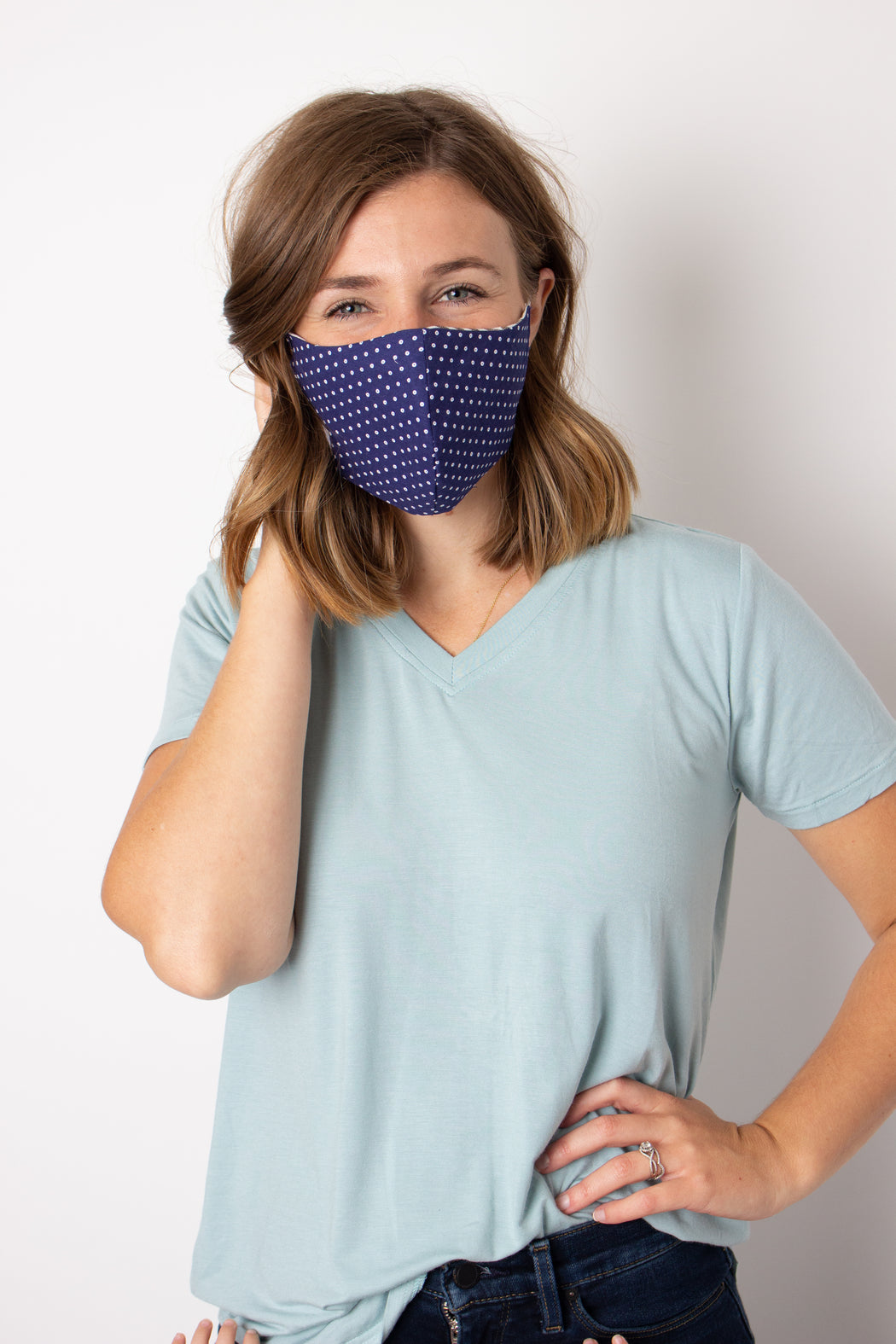 Navy Dot Fabric Mask - Women M