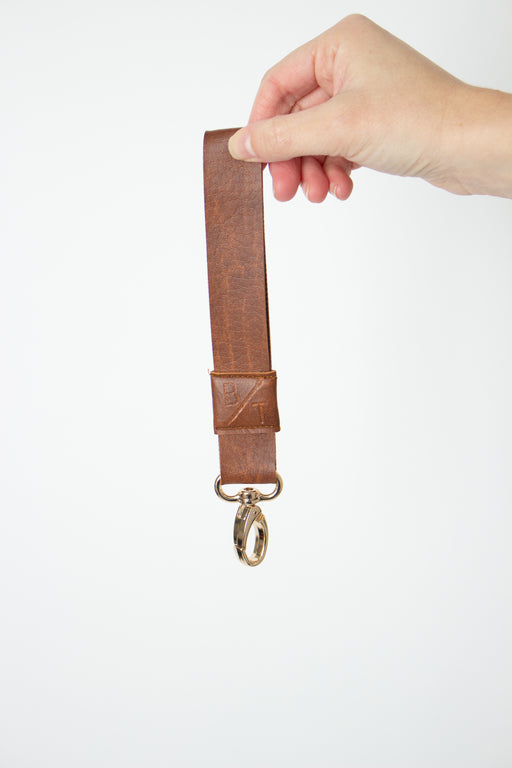 Brown Vegan Leather Key Fob