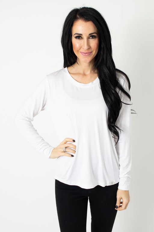White Long Sleeve Scoop Tee