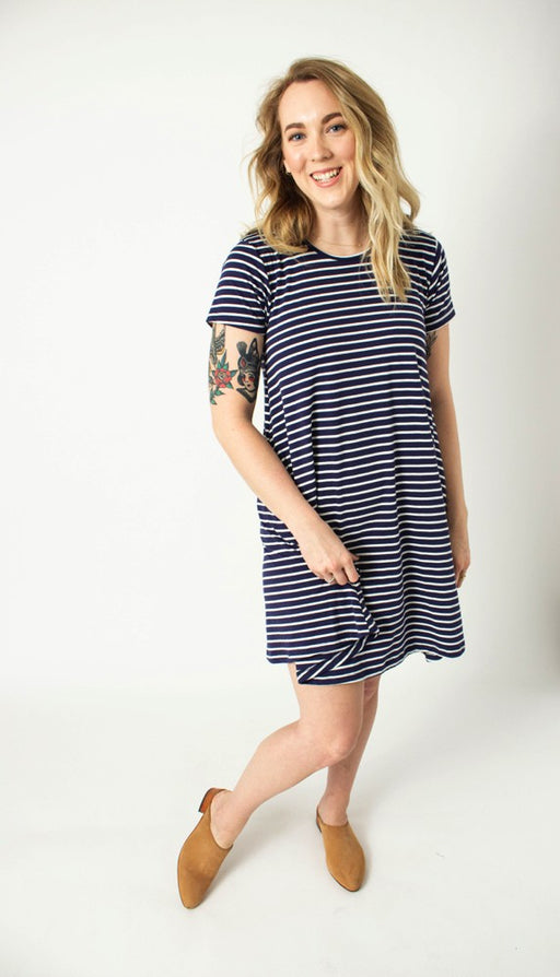 Indigo Stripe Swing Dress