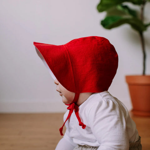 Red Linen Bonnet