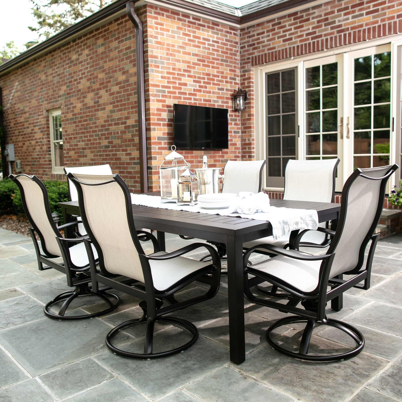7 Piece Rectangular Outdoor Dining Set With Sling Chairs Yardbird