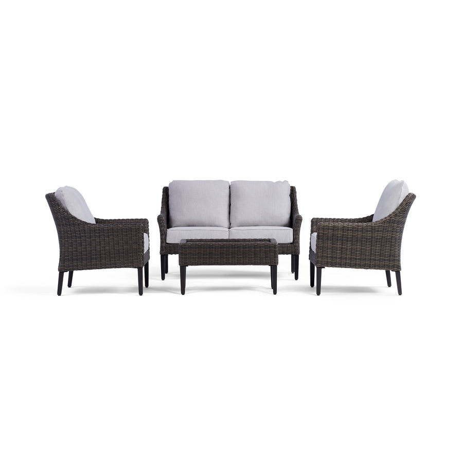 Yardbird Harriet Outdoor Loveseat Set with Fixed Chairs Outdoor Furniture