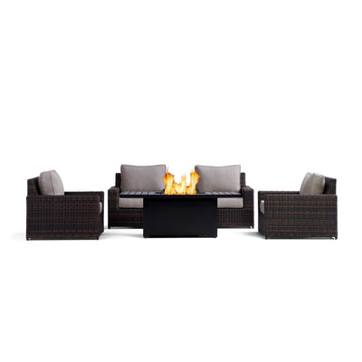 Yardbird Langdon Fire Table Set with 4 Fixed Chairs Outdoor Furniture