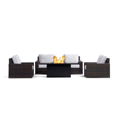 Yardbird Langdon Outdoor Fire Pit Table Set with 4 Fixed Chairs Outdoor Furniture