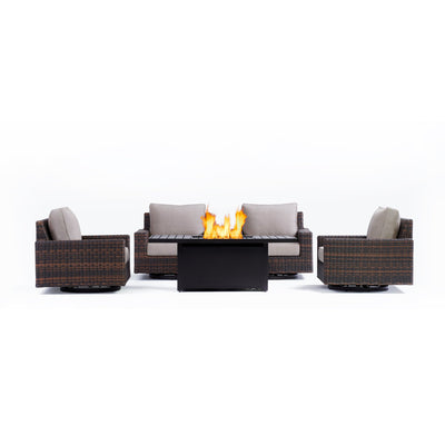 Yardbird Langdon Outdoor Fire Pit Table Set with 4 Swivel Chairs Outdoor Furniture