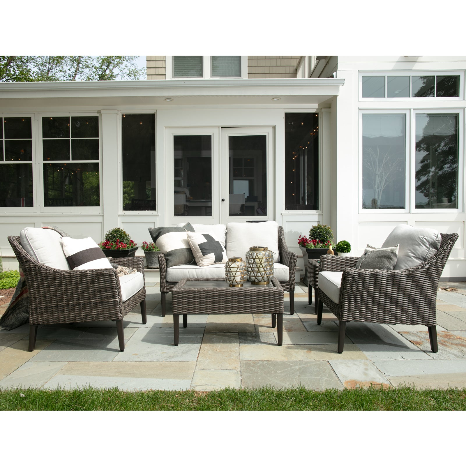 Fantastic Outdoor Harriet Loveseat Set With 2 Chairs Coffee Table Ocoug Best Dining Table And Chair Ideas Images Ocougorg