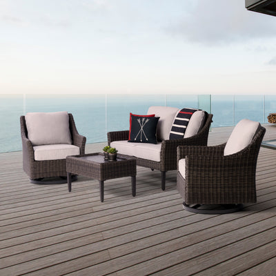 Yardbird Harriet Chat Set with Swivel Chairs Outdoor Furniture
