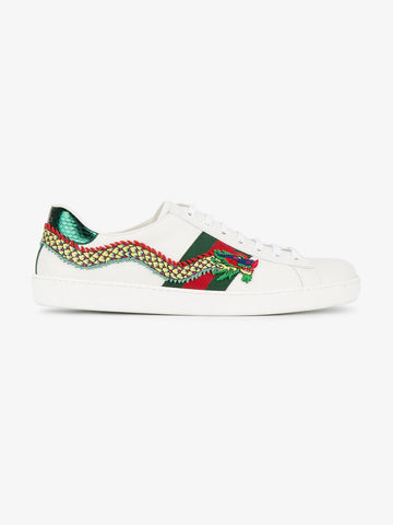 Dragon Ace Embroidered Leather Sneaker