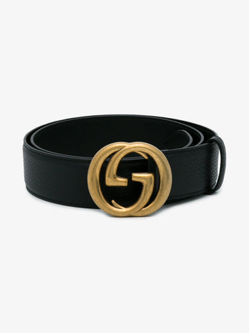 Leather Belt With Interlocking G Buckle
