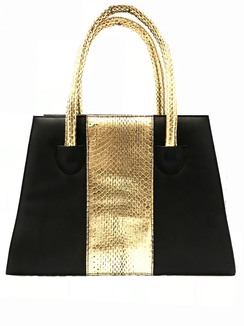 Black and Gold Wonder Bag with Gold Snake Skin Belt