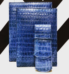 Bespoke High gloss Arctic Blue Crocodile Textured Leather Diary Set with Matching Penholder