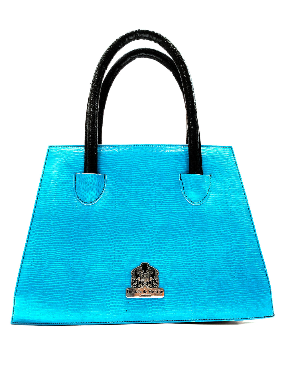 Turquoise Texture Wonder Bag Black Handles