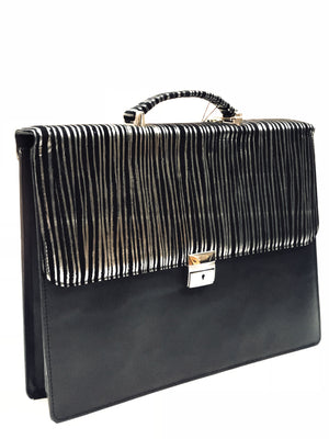 Black Briefcase with Silver Zebra Pattern