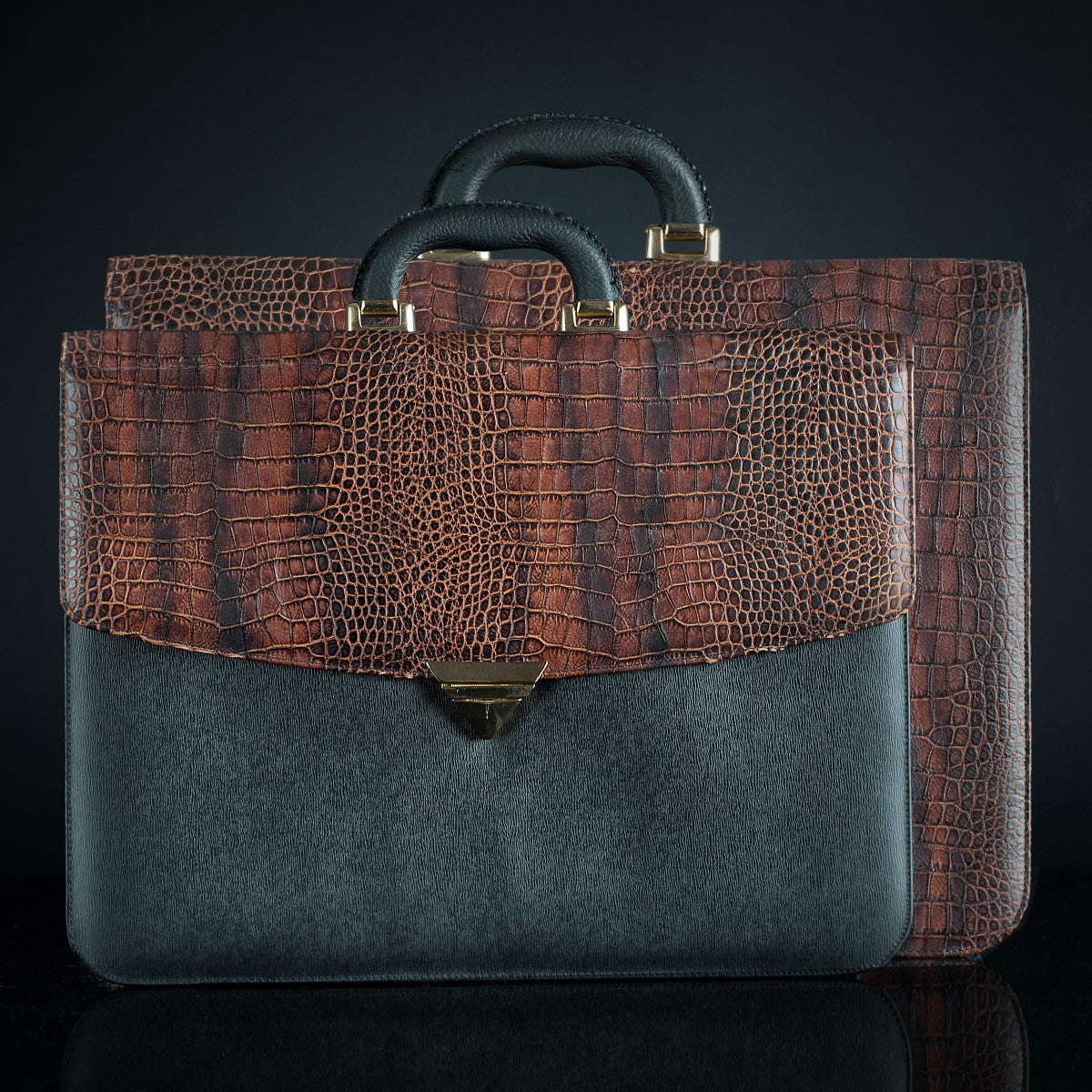 Classic  Large Leather Briefcase - Brown