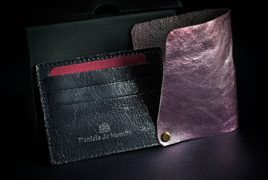 Unique and luxurious leather Card holder with unique stud hinge design