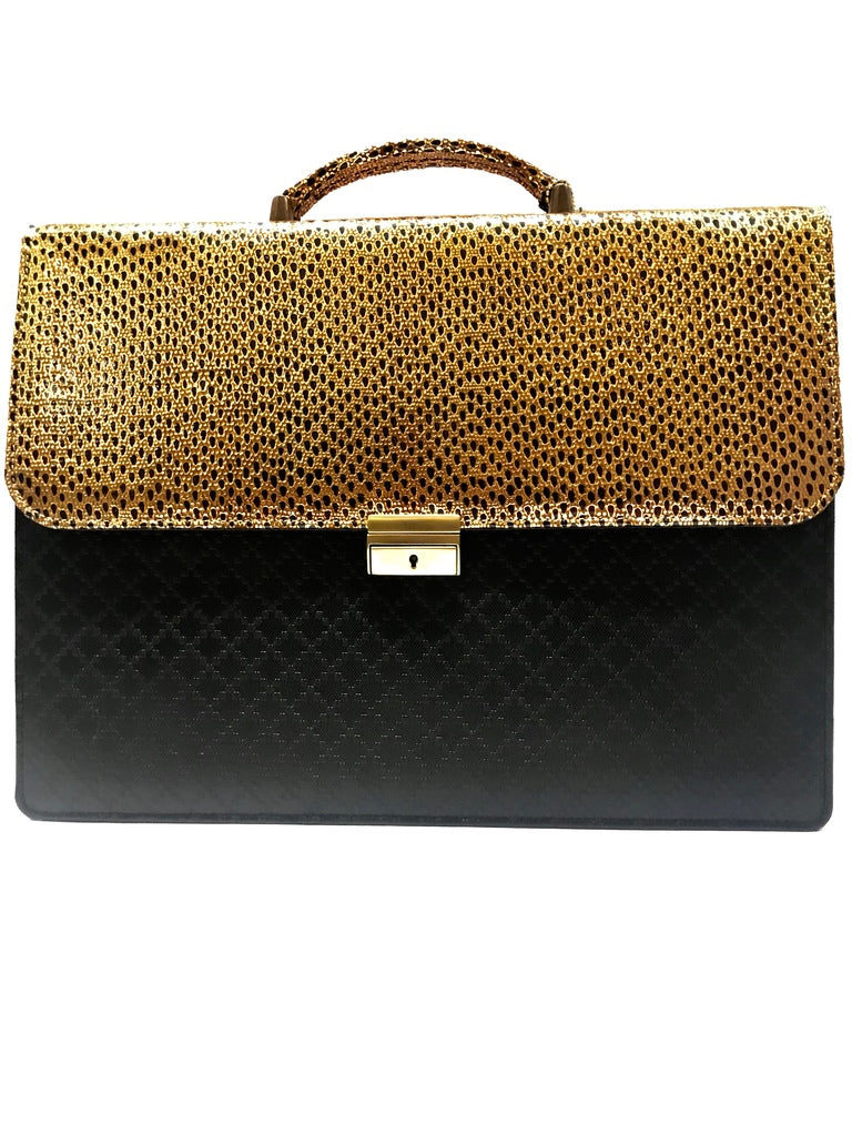 Black Texture Briefcase with Gold Mesh Enclosure