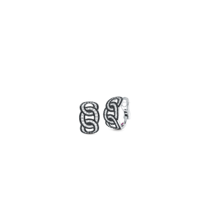 Cable Link Earrings With Diamonds