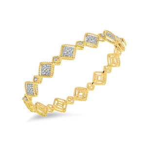 Alternating Pattern Diamond Station Bangle
