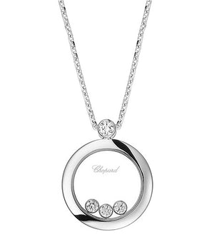 White Gold Happy Diamonds Round 3 Floating Diamond Necklace