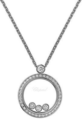 White Gold Happy Diamonds Round Pavee Necklace