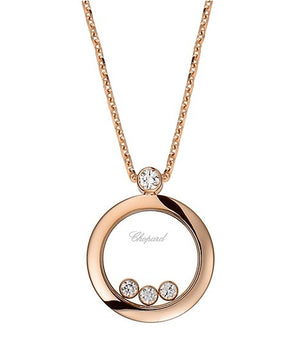 Rose Gold Happy Diamonds Round 3 Floating Diamond Necklace