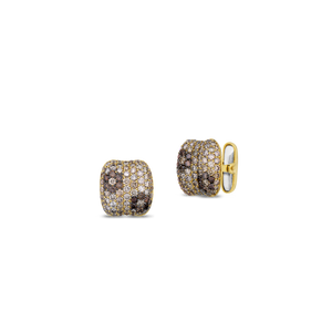 Flower Cufflink With Cognac Diamonds