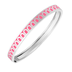 L'Arc de DAVIDOR Bangle PM, 18k White Gold with May Rose lacquer, size 17