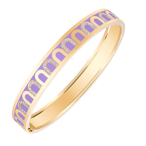 L'Arc de DAVIDOR Bangle MM, 18k Yellow Gold with Lavande lacquer and Colonnato Diamonds, size 17