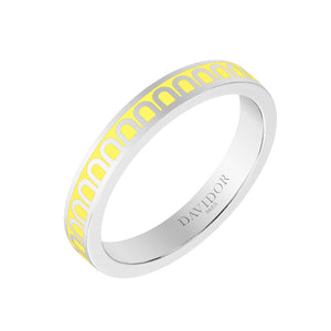 L'Arc de DAVIDOR Ring PM, 18k White Gold with Limoncello lacquer, size 52