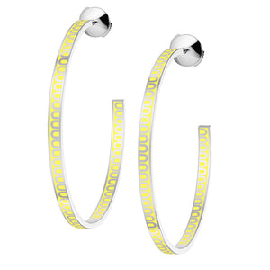 L'Arc de DAVIDOR Creole Earring GM, 18k White Gold with Limoncello lacquer